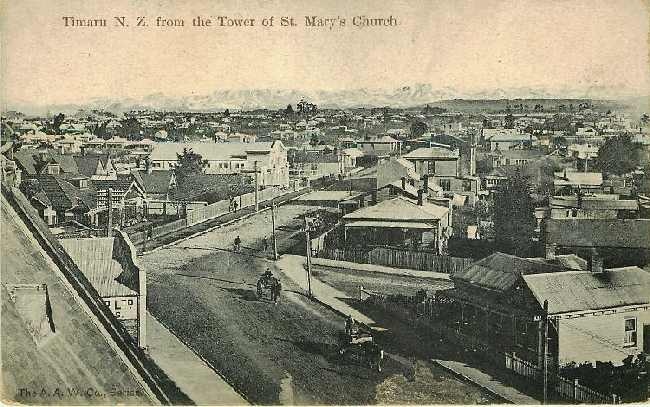 Timaru N Z from Tower of St Mary's Church