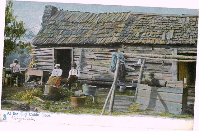 Black Americana Postcard - At The Old Cabin Door.