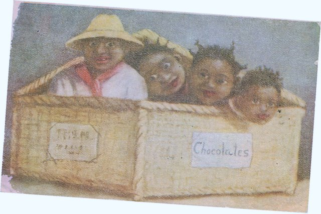 Black Americana Postcard - A Box of Chocolates