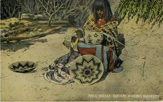 Pima Indian Squaw Making Baskets - Native American Postcard