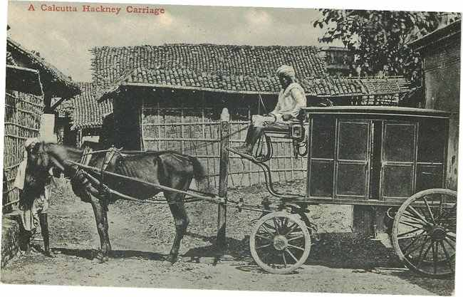Black Americana Postcard - A Calcutta Hackney Carriage