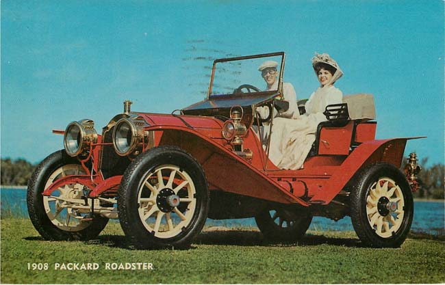1908 PAckard Roadster With Mother-In-Law Seat Postcard