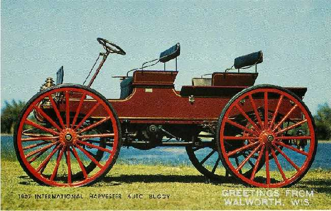 1907 International Harvester Auto Buggy Postcard