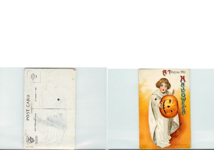Mechanical Halloween Postcard signed Clapsaddle Series 1236
