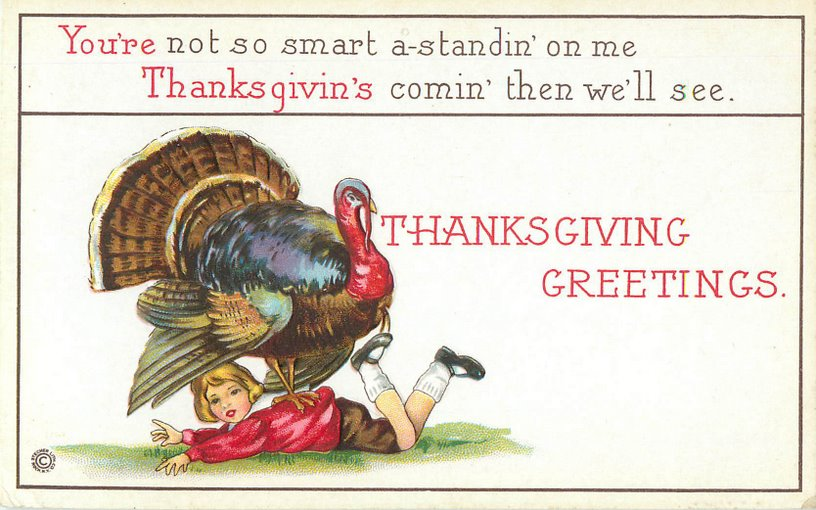 Thanksgiving Greetings Postcard - Turkey standing on boy's back.