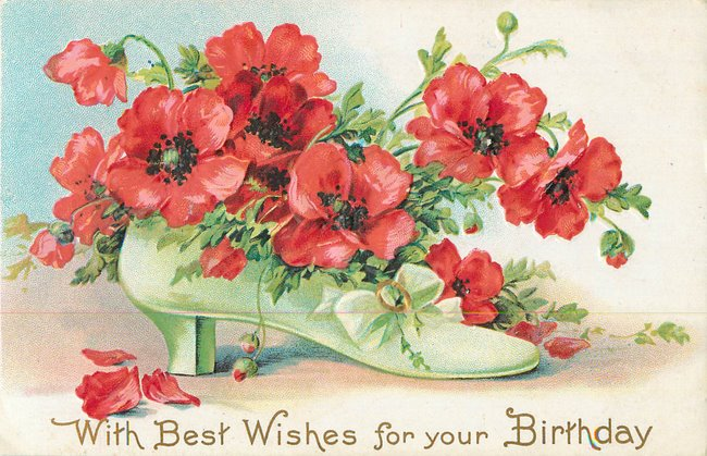 Best Wishes for your Birthday. Shoe filled with red flowers