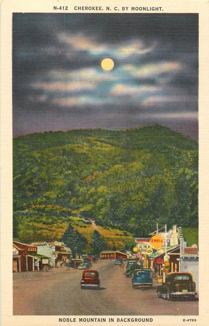 Shell Station. Noble Mountain, N-412 Cherokee NC Postcard