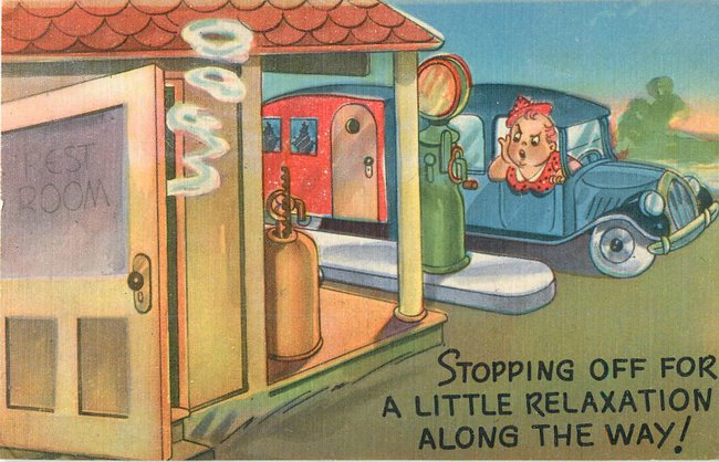 Cartoon: Service station, old car pulling travel trailer Postcar