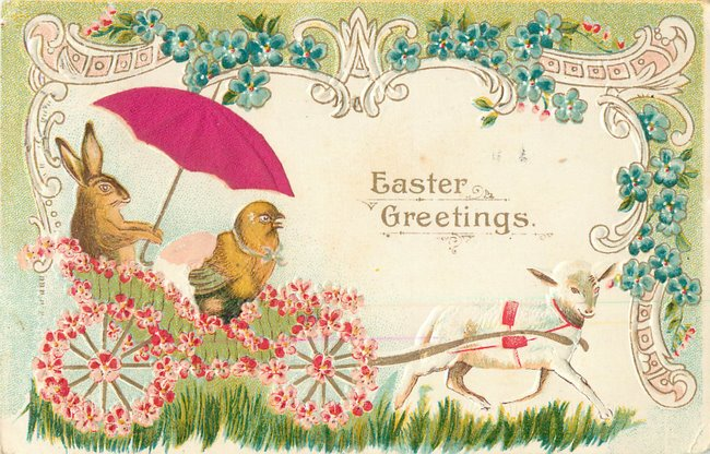 Easter rabbit w/silk umbrella - Postcard
