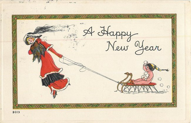 """A Happy New Year"" Woman in red dress pulling child on sled"