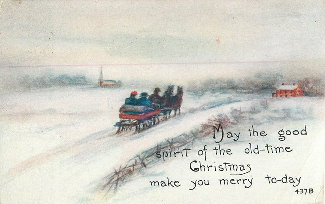 """good spirit of old-time Christmas"" People on horsedrawn sleigh"