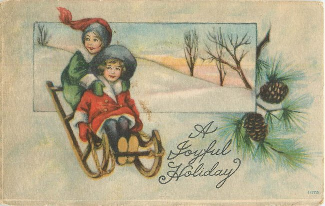 """A Joyfull Holiday"" Children on sled"