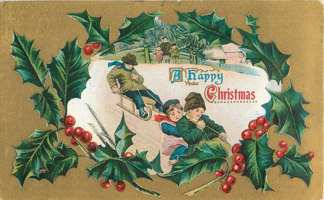 """A Happy Christmas"". Children on sleds."