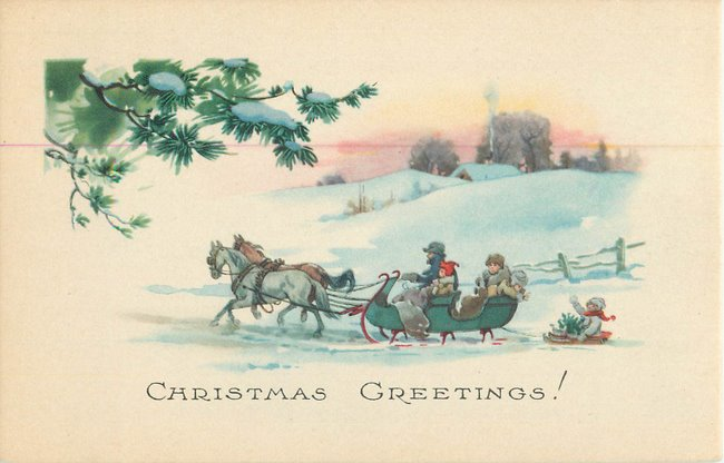 """Christmas Greeting"". Family in horsedrawn sleigh."