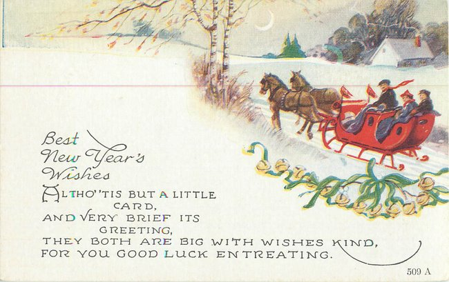 """Best New Years Wishes"". Moon, cabin, people in sleigh"