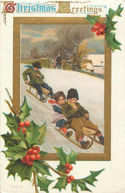 """Christmas Greetigs"" Children sledding"