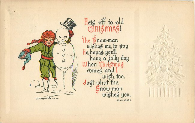"""Hats off to old Christmas"". Boy and snowman (copy 2)"