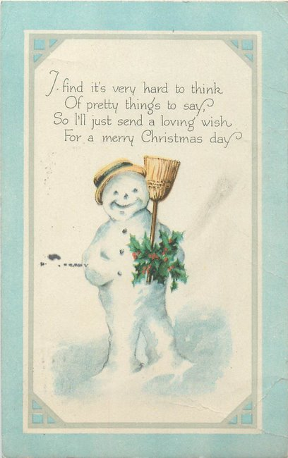 """Merry Christmas"" Snowman w/hat, broom, & holly (copy1)"