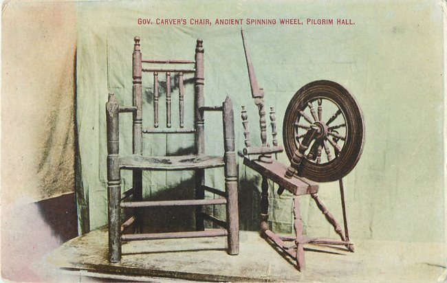 """Gov. Carver's Chair, Ancient Spinning Wheel, Pilgrim Hall"""
