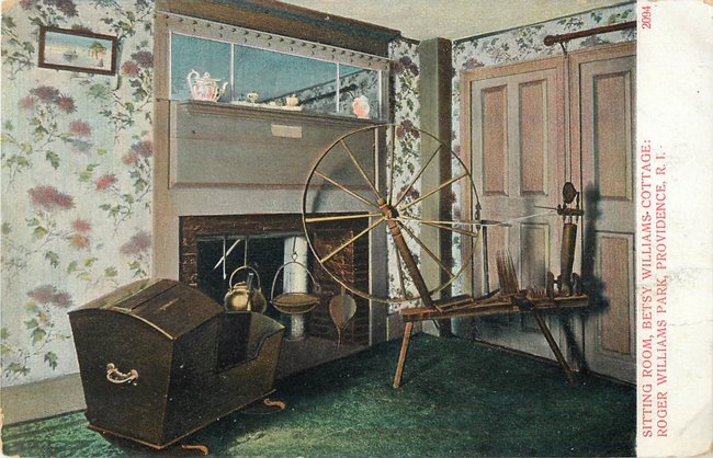 Spinning wheel, sitting room, Betty Williams Cottage, Prov. RI