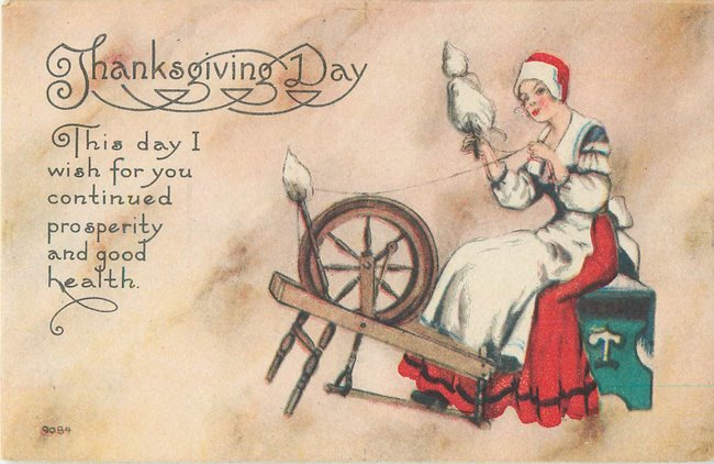 """Thanksgiving Day"" Woman in red, white, & blue at spinning wheel"