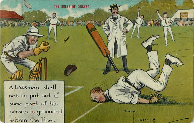 """The rules of cricket"" humorous, batsman shall not be put out..."