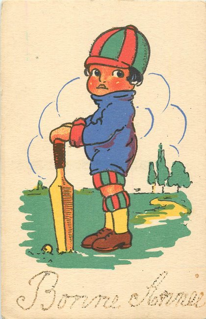 Drawing of child playing cricket