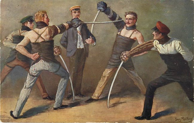 Four men fencing