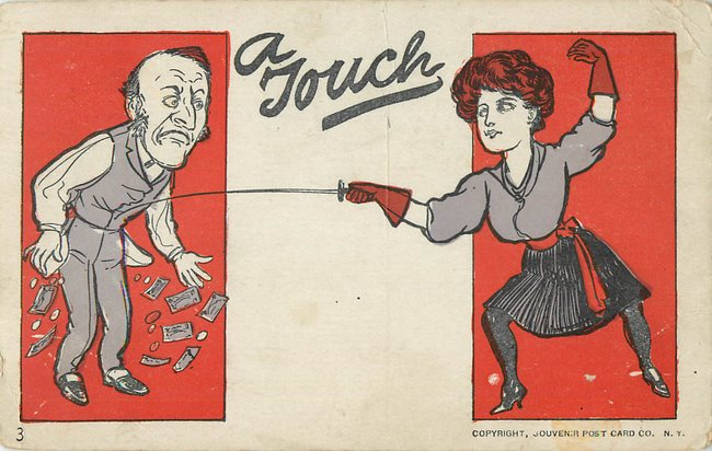 A Touch. Fencing woman and man