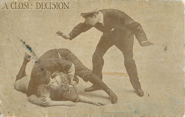 "Baseball Postcard ""A Close Decision"" man & woman kissing at base"