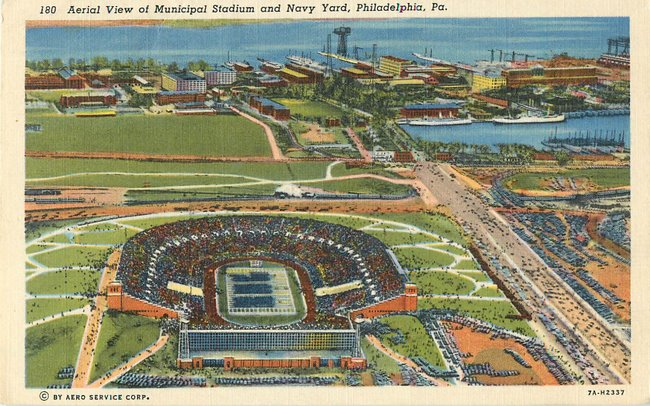 Aerial View of Municipal Stadium and Navy Yard, Philadelphia, PA
