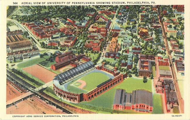 Aerial View of University of Pennsylvania showing stadium