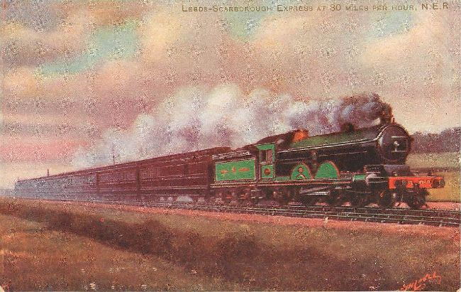 LEEDS-Scarbororough Express at 80mph N.E.R. Postcard