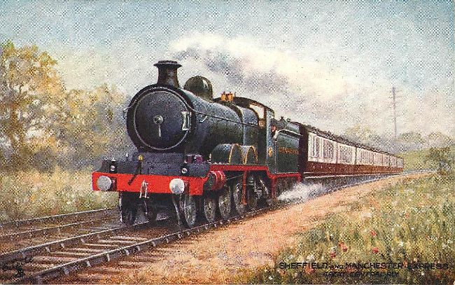 Sheffield & Manchester Express Great Central Railway Postcard