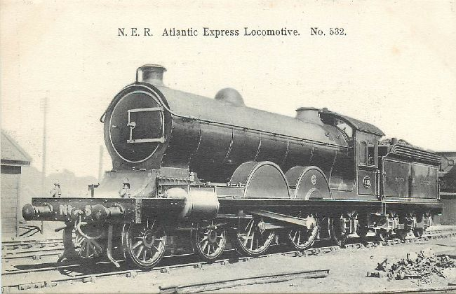 N.E.R. Atlantic Express Locomotive No. 532 Locomotive Postcard