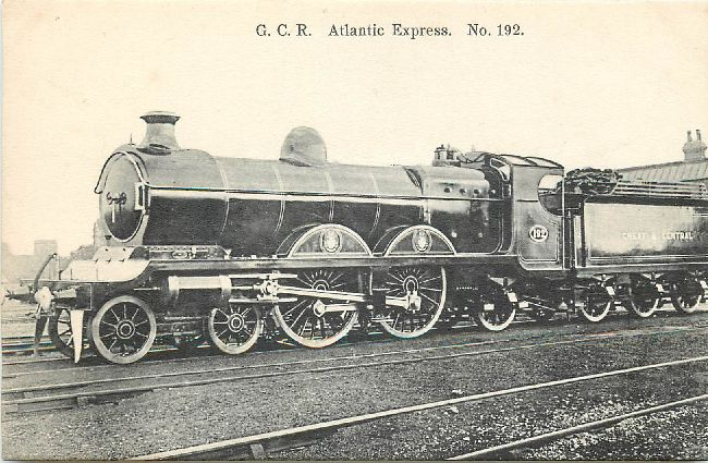 G.C.R. Atlantic Express No. 192 Locomotive Postcard