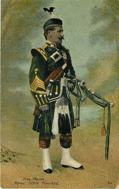 Pipe Major Royal Scots Fusiliers No.X6 Great Britain Postcard