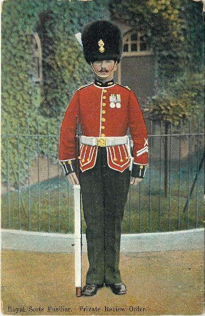 Royal Scots Fusilier, Private Review Order Gaurds Postcard
