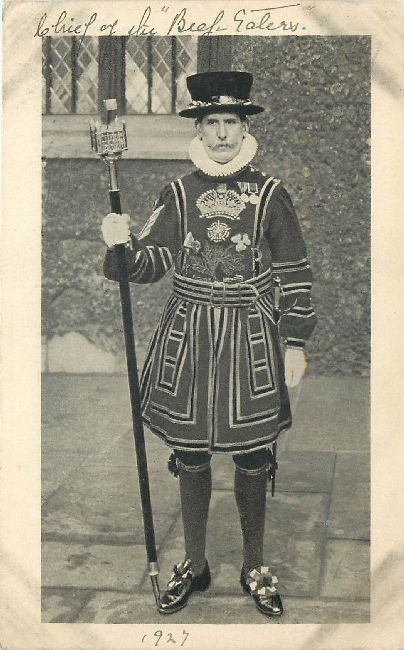 British Guard Postcard 1927 written on the front of Card