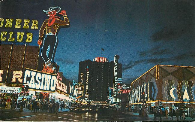 Fremont Street, Las Vegas, Nevada at night Postcard