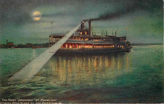 "The Ferry ""Davenport"" by Moonlight - Steamship Postcard"
