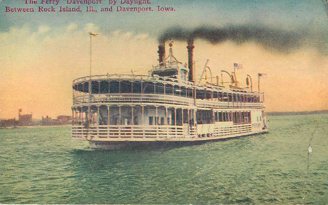 "The Ferry ""Davenport"" by Daylight - Steamship Postcard"