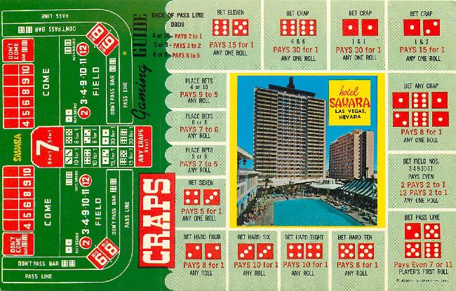 CRAPS table Casino Postcard.