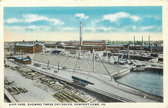 Ship Yard, Showing Three Dry Docks, Newport News, VA