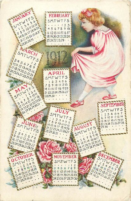 1912 New Year Greeting Postcard