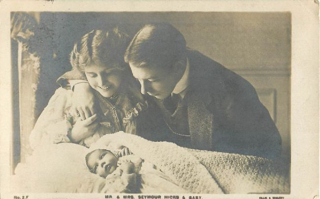 Mr. & Mrs. Seymour Hicks & Baby Postcard