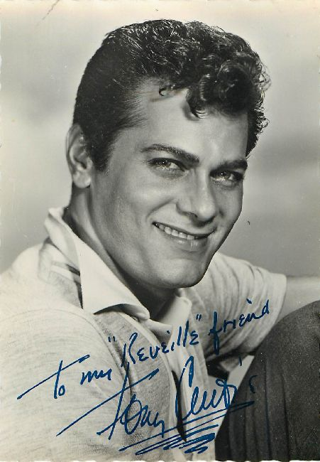 SIGNED Tony Curtis REVEILLE FAN CLUB Postcard