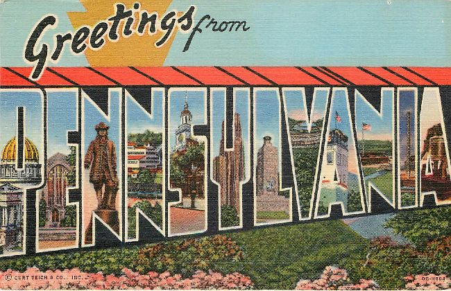 Greetings from Pennsylvania Large Letter Postcard