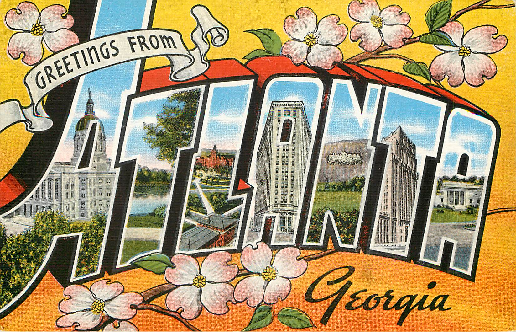 Greetings from Atlant, Georgia Large Letter Postcard