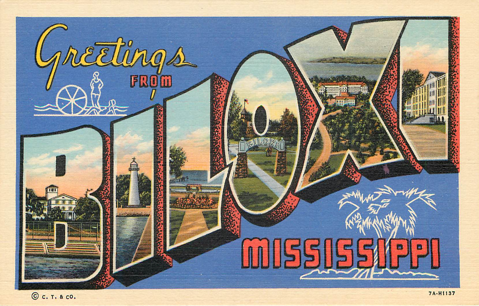 Greetings from Biloxi, Mississippi Large Letter Postcard